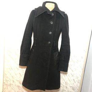 Mackage Wool Leather Pea coat Black Size Small